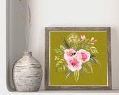 Bee Lovers Decor, Printable Pollinator Art, Honeybee Art Print, Summer Birthday Floral, Square Modern Home Decor, Gardeners Gift Bouquet