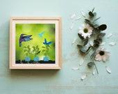 Hummingbirds Art, Educators, Teachers, Choir Directors Learning, Miniature Blue Flower Pots, Baby Shower Gift, Nursery Room Art, Science