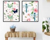 Butterfly wall art, Pink Roses Art, Nature Lovers Art, Home Decor Oasis, Butterfly Decor, Nature Lovers Art, House Warming gift idea