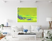 Blue Fish Wall Art, Cool Green Water Image, Contemporary Water Garden Sea Water Ripple Downloadable Printable Wall Splashing FountainArt