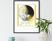 Butterfly Wall Art, Earth Day 2021, Environmental Art, moon & gilded stars, blue flower decor, celestial wall decor, weather science art,