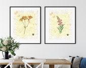 Downloadable Printable, Botanical Wildflower, Pink, Bee, Honeycomb,Botanical Prints, Botanical Posters, Farmhouse Prints,