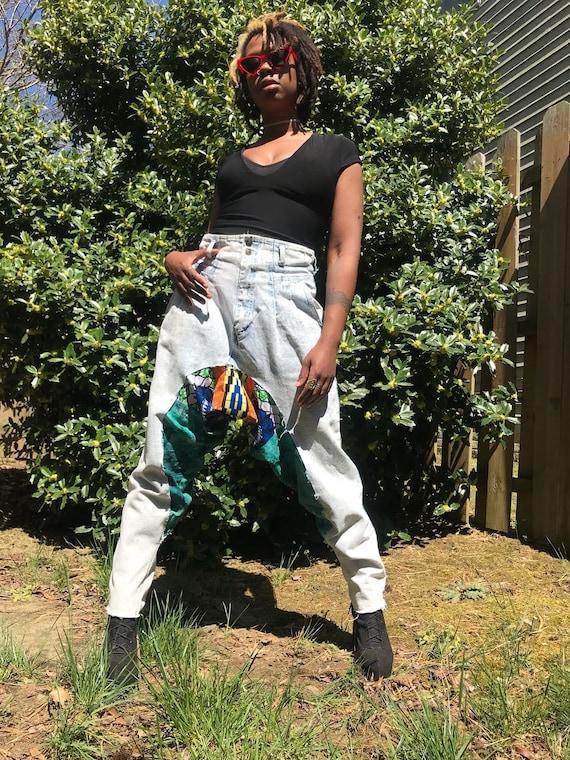 One of a kind High Waist Drop Crotch Denim African Print Pants
