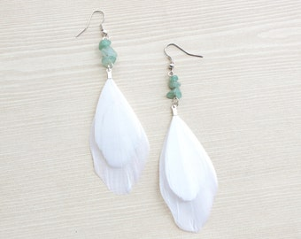 Feather Earring, Mint Agate & Natural White Feather, Full White Feather Drop Earring, Aventurine Stone Earring, Beach Wear Accents, Bohemian