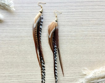 Feather Earring, Gold Tone Grizzly Feather Earring, Bohemian Jewelry, Long Feather Earrings, Brown and Natural Feathers, SOLD AS PAIR