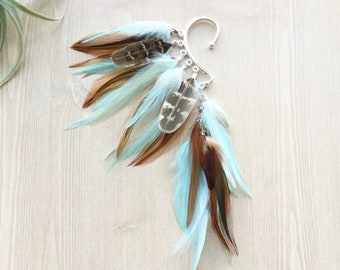Feather earrings for children/'s feather ear clips green orange clips girls feather children/'s jewelry