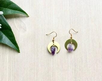 Brass Moon Earrings Drop Earrings Crystal Quartz Bead Spiritual Jewelry in Gold Tones Celestial