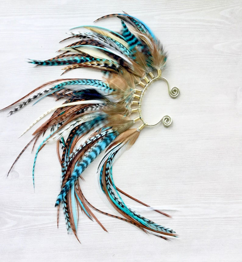 Teal Extra Long Feather Mohawk Ear Wrap/ Cuff in Gold image 0