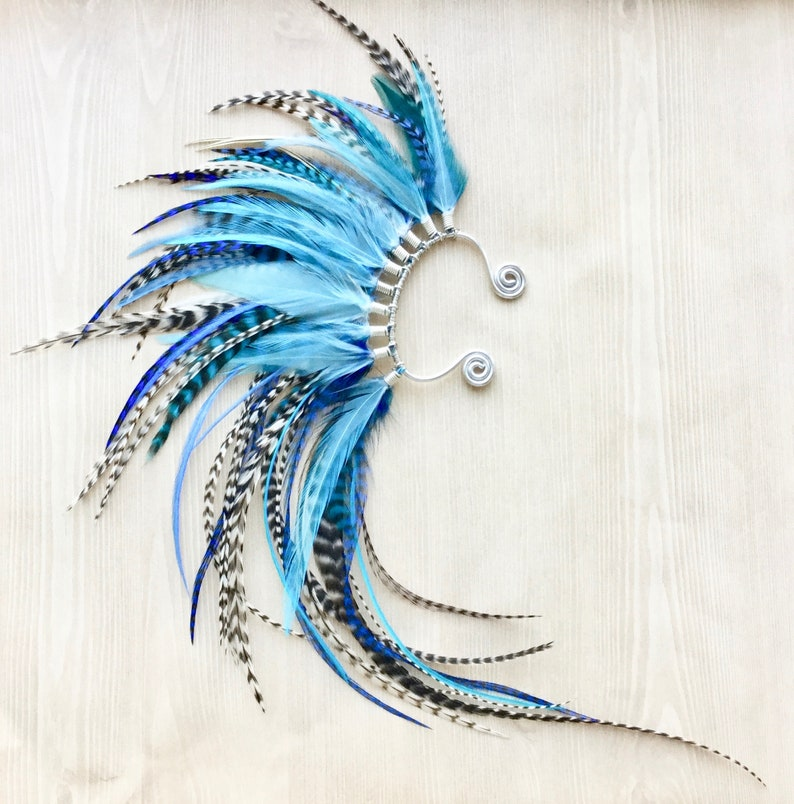 Ocean Blue Feather Mohawk Ear Wrap in Silver One of a Kind image 0