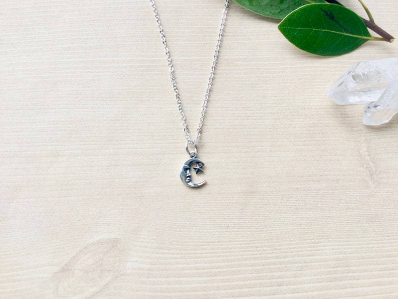 Sterling Silver Moon and Star Pendant Necklace Charm image 0