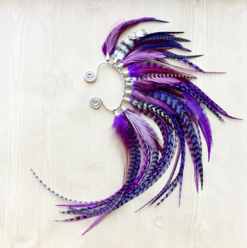 Vibrant Purple Feather Mohawk Ear Wrap in Silver One of a image 0