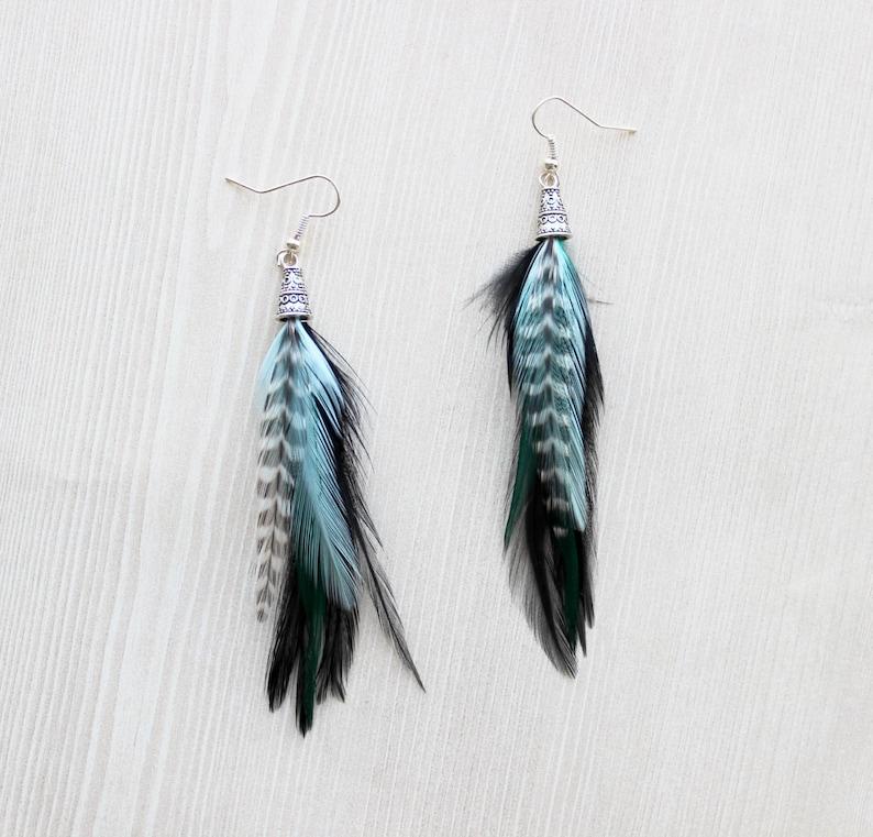 Feather Earring Teal & Black Feather Earrings Drop Earring image 0