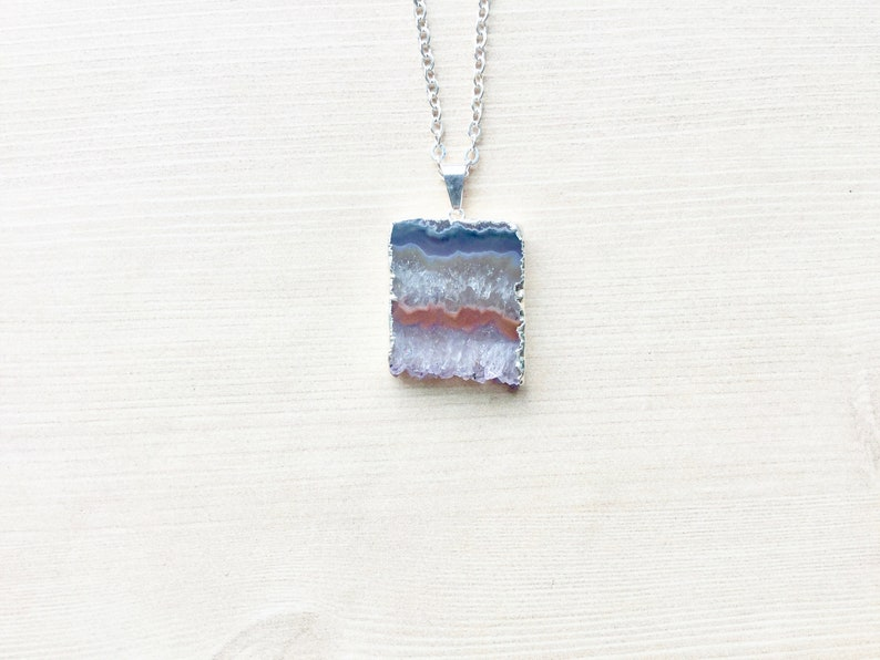 Geode Slab Necklace in Silver Silver Amethyst Necklace Raw image 0