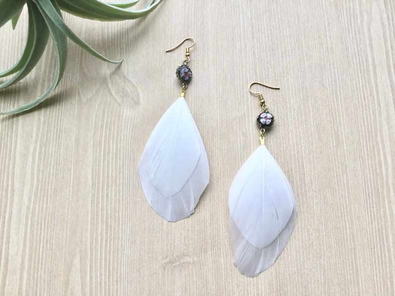 White Goose Feather Earrings Boho Drop Earrings with Flower image 0