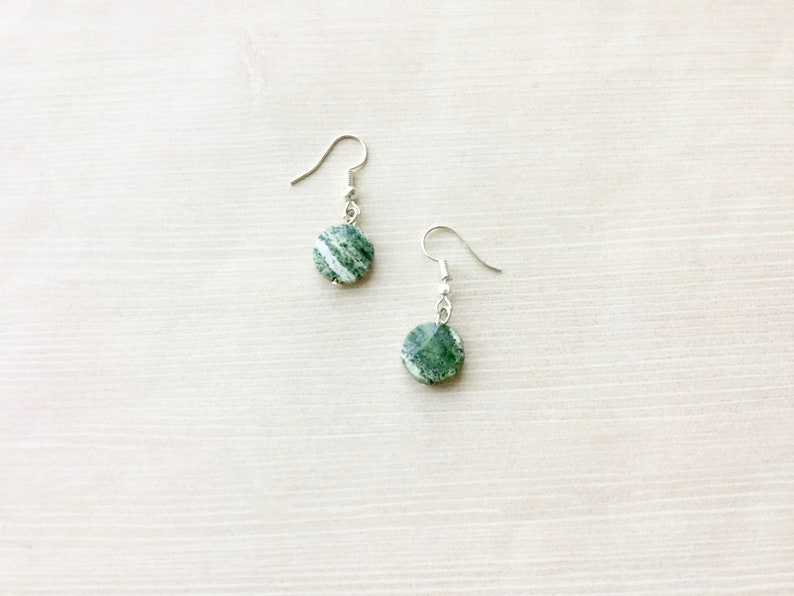 SALE: Petite Drop Earring in Silver with Tree Agate Stone image 0