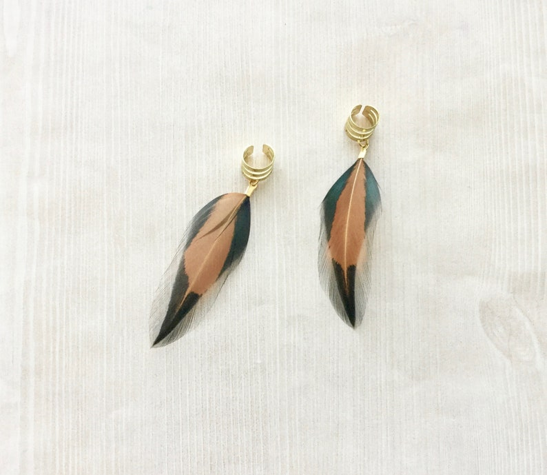 Brown Tribal Feather Ear Cuff in Gold Natural Feather image 0