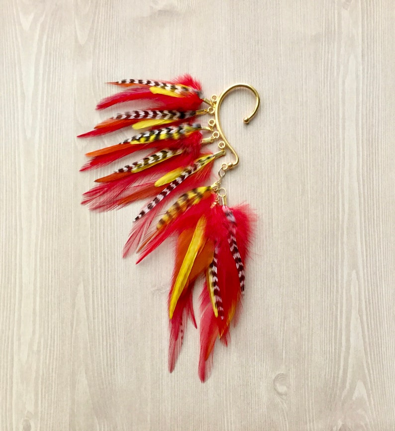 Phoenix Red Under Ear Wrap Feather Earring Ear Cuff in Gold image 0