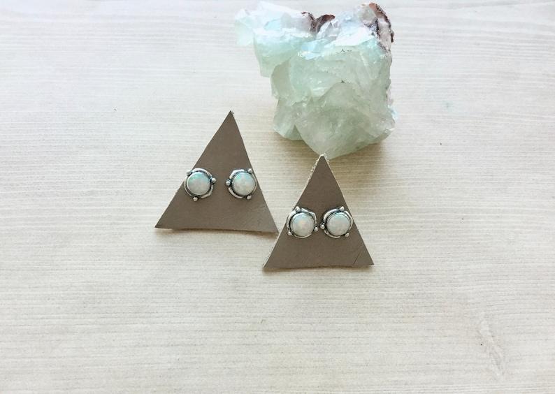 Sterling Silver Stud Earring White Opal Earrings Circle image 0