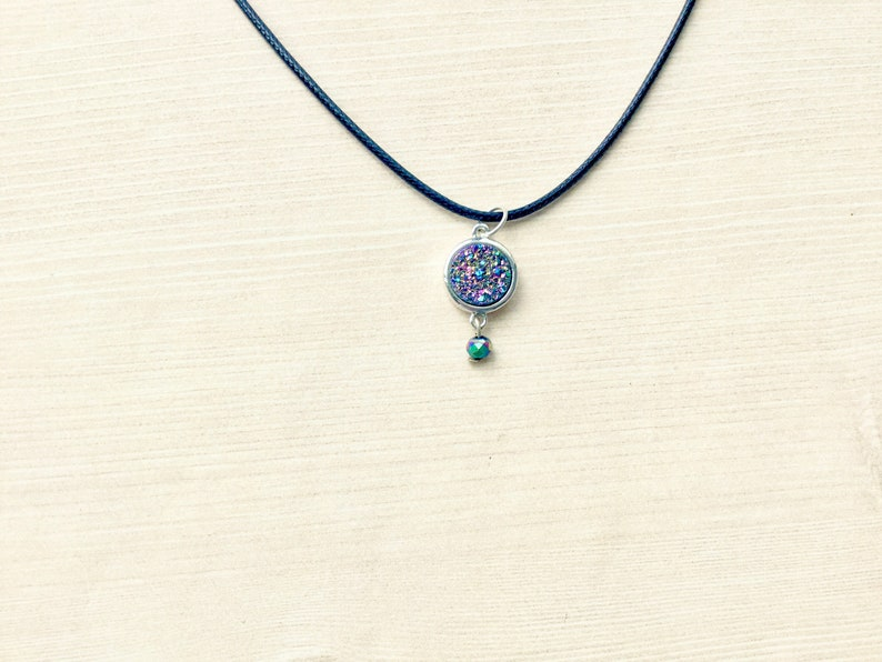 Rainbow Druzy Choker Necklace with Leather Cord Druzy image 0