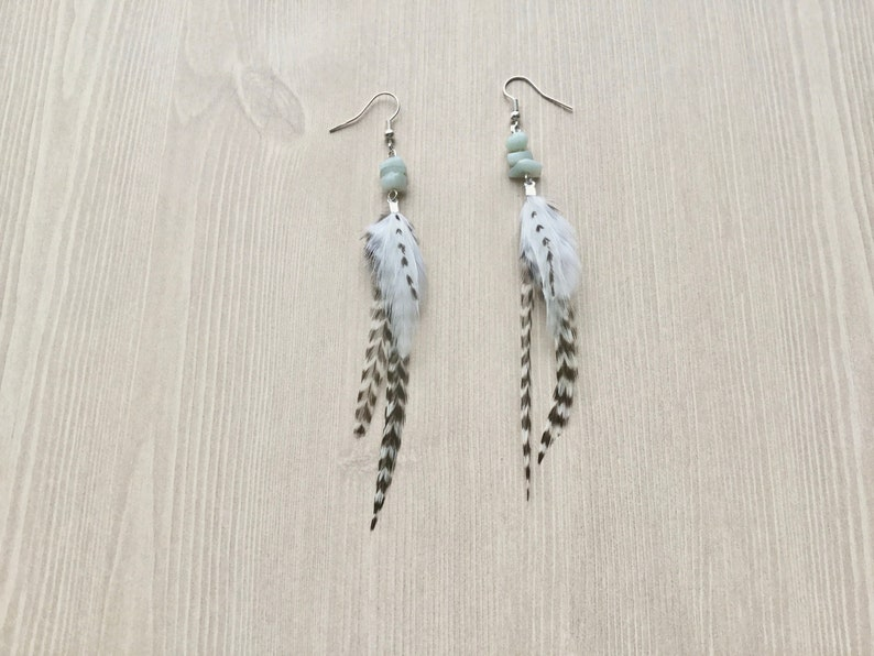Black and White Feather Earrings with Metallic Silver image 0