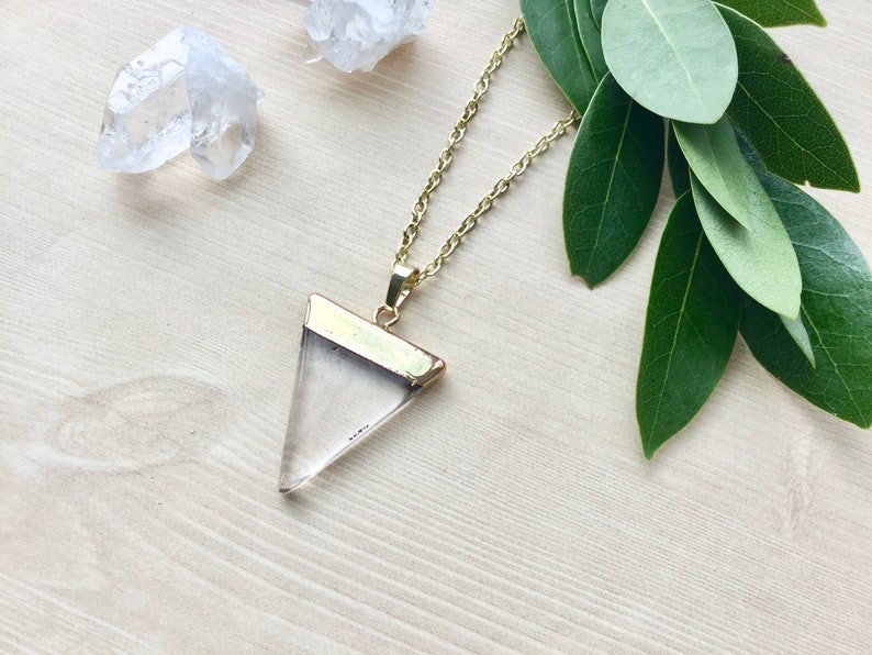 Crystal quartz Geometric Necklace in Gold Triangle Pendant image 0