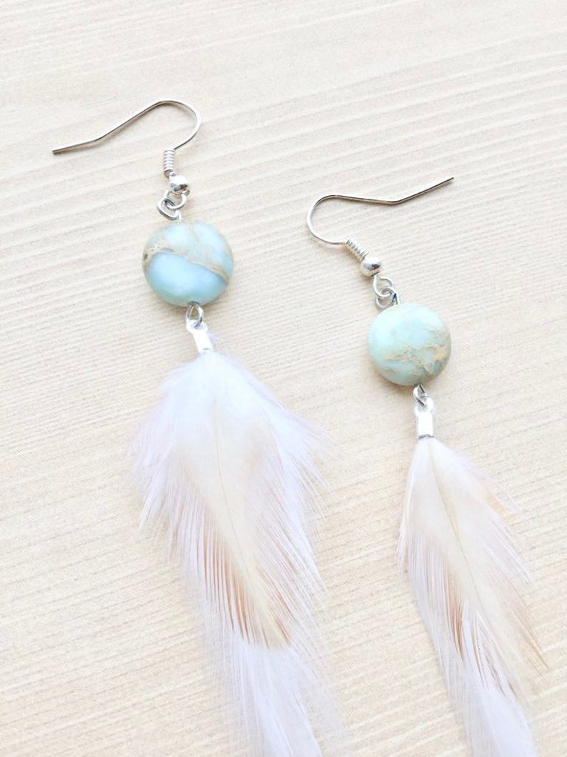 African Opal White Feather Earrings image 0