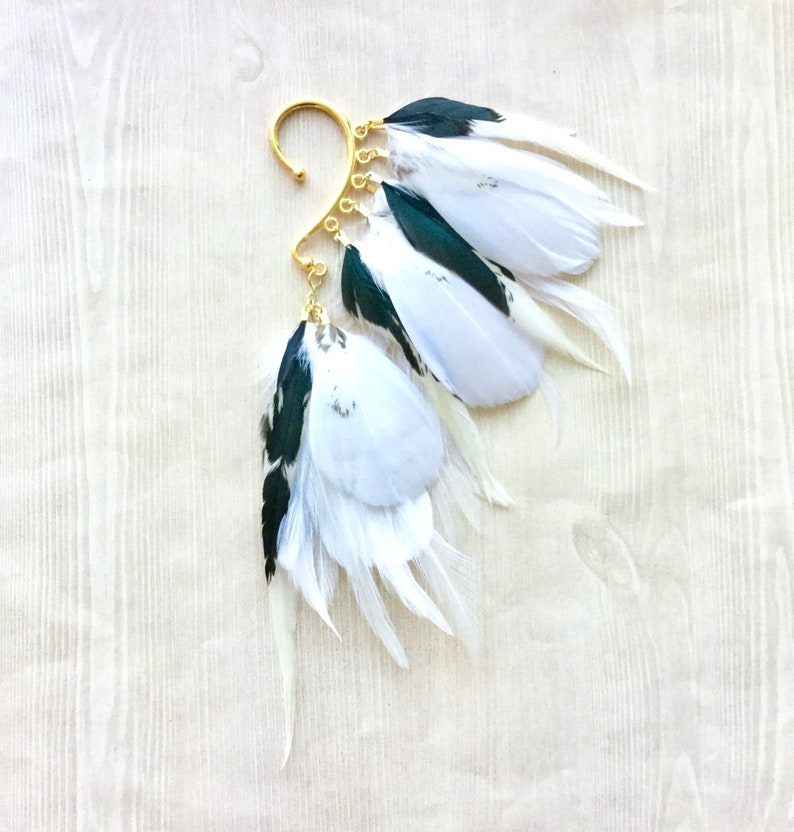 White & Natural Feather Ear Wrap / Cuff in Gold Metallic image 0