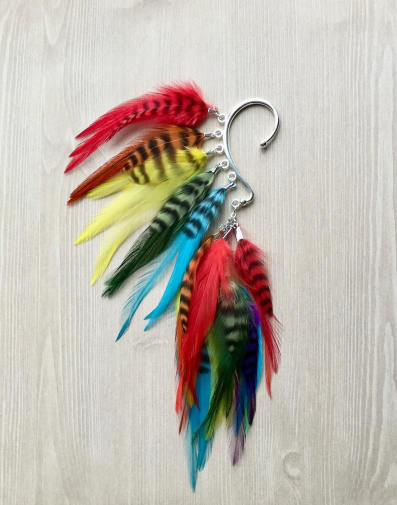Bright Rainbow Feather Ear Wrap / Cuff in Silver Rainbow image 0