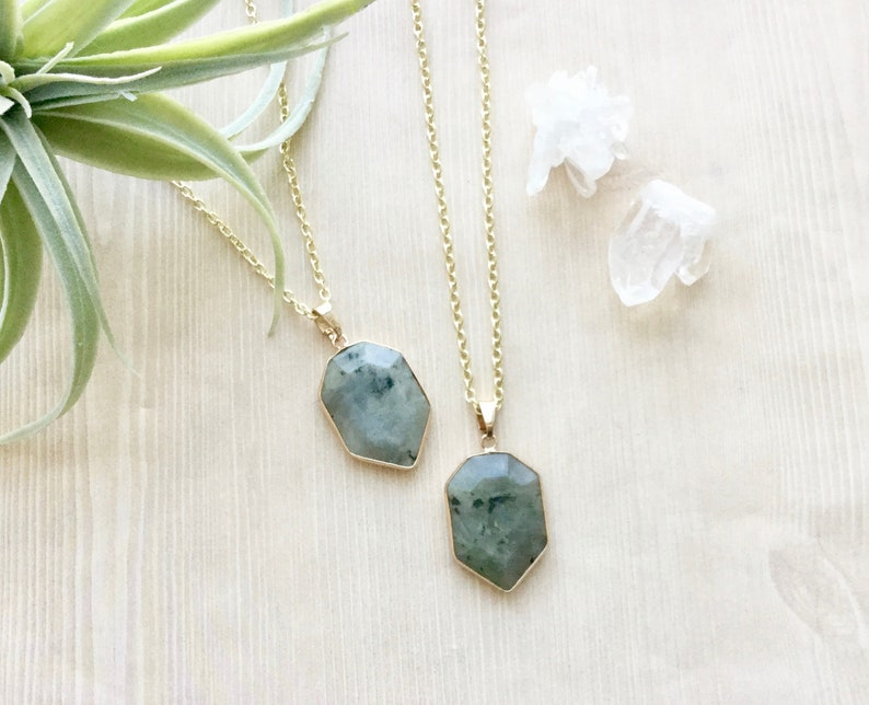 Gold Plated Labradorite Necklace Pendant Necklace in Gold image 0