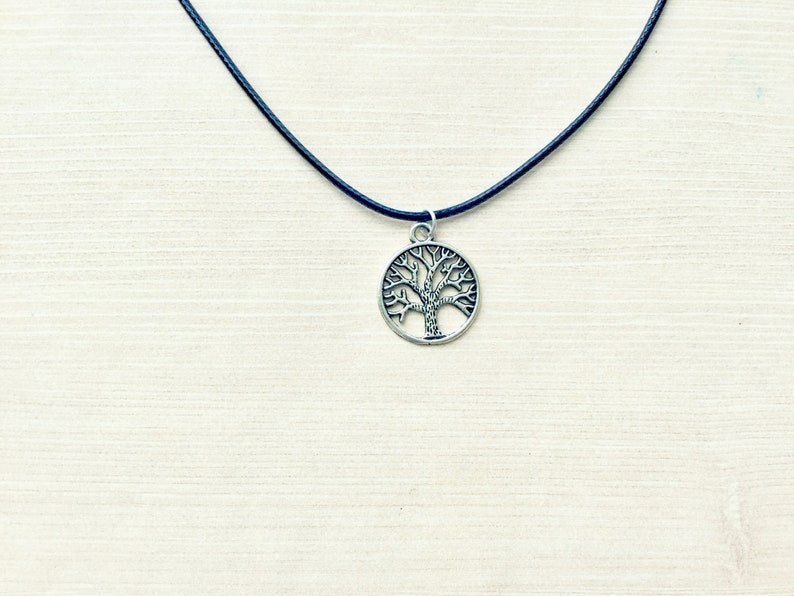 3dc57d1f4a970 Tree of Life Choker Necklace with Leather Cord, Silver Charm, Tree Pendant