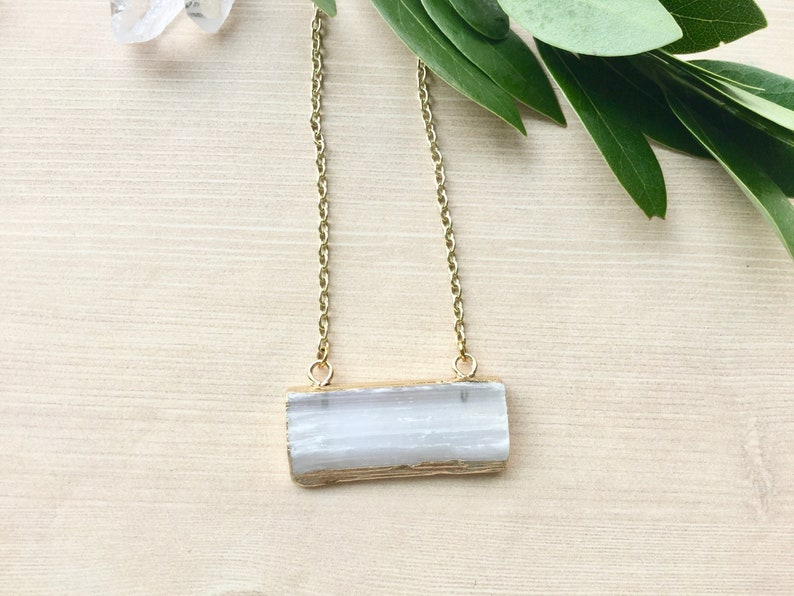 Selenite Necklace Dipped in Gold Horizontal Pendant Healing image 0