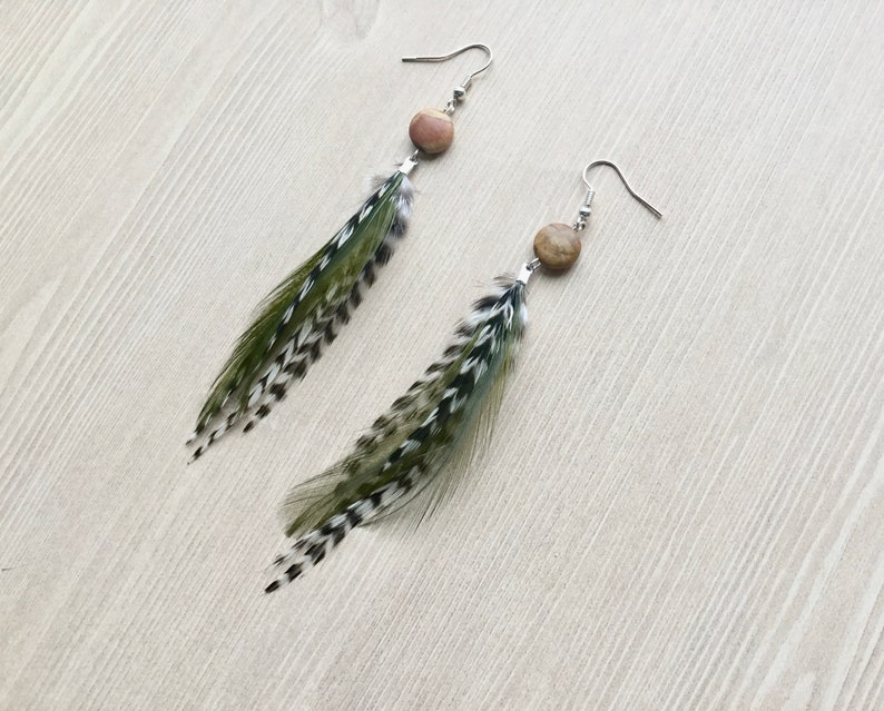 Olive Green Feather Earrings with Metallic Silver Findings image 0