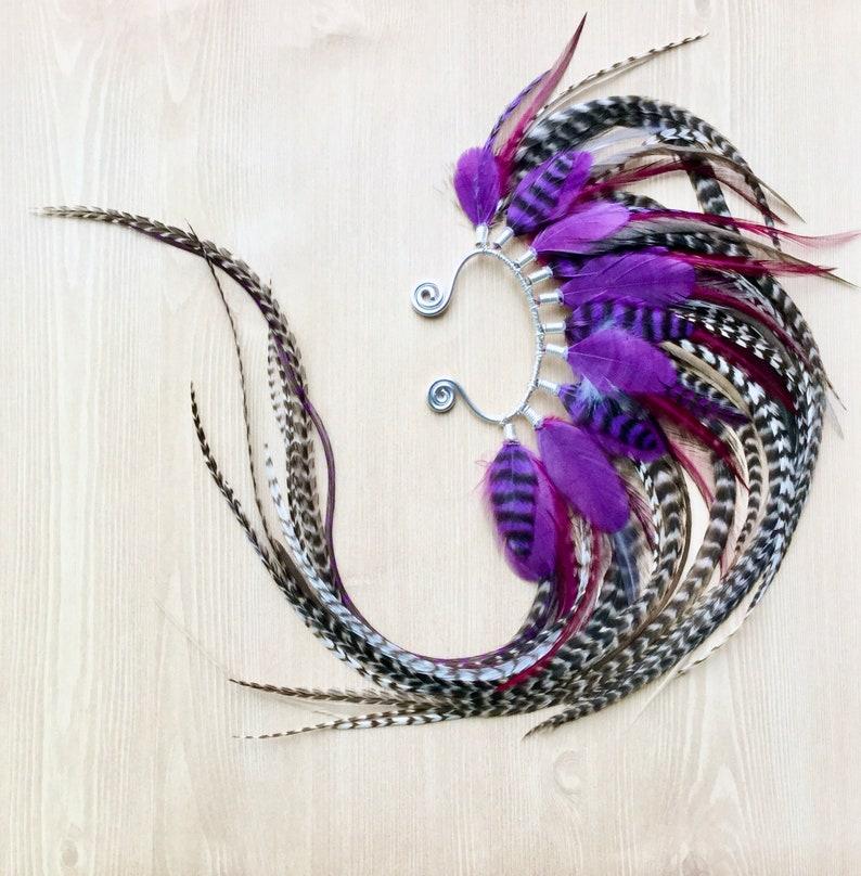 Silver Mohawk Feather Ear Wraps Vibrant Purple Original image 0