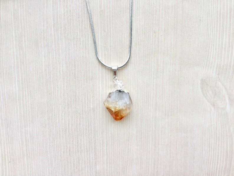 Sterling Silver Citrine Pendant Necklace Chrystal Necklace image 0