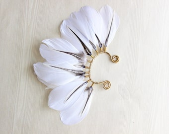 Feather Ear Wrap, Gold Tone, Ear Cuff with Feathers, Wedding Jewelry, Boho, Natural White Feather Earring, Cuff for Ear, Festival Jewelry