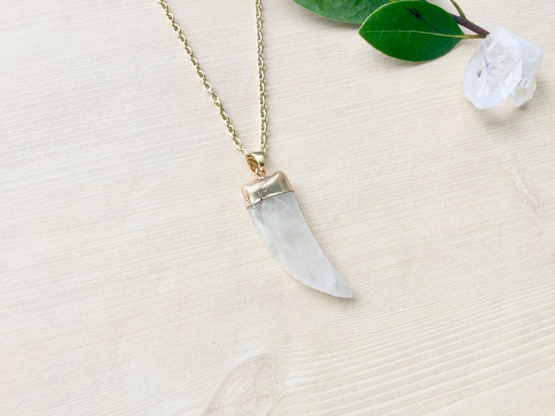 Gold Plated Crystal Quartz  Necklace Pendant Necklace in Gold image 0