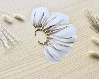 Feather Ear Wrap, Gold Tone, Ear Cuff with Feathers, Wedding Jewelry, Natural White Feather Earring, Cuff for Ear, Limited Edition Brass