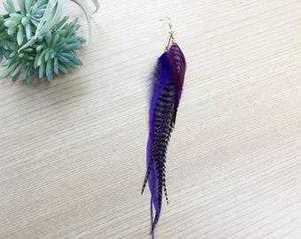 Feather Earring, Brass Single Grizzly Feather Earring, Bohemian Jewelry, Long Feather Earrings, Brass Tone Earrings, Hand Made