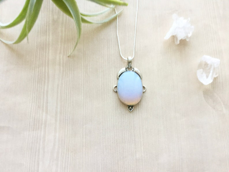 Silver Rainbow Opalite Necklace Pendant Necklace in Silver image 0