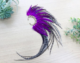 Feather Ear Wrap, Gold Tone Feather Cuff with Extra Long Feathers, Purple Ear Wrap with Feathers, Feather Earring, Music Festival Jewelry