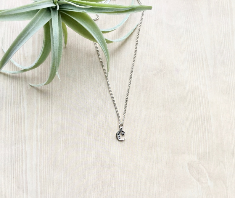 Sterling Silver Moon Pendant Necklace. Charm Necklace image 0