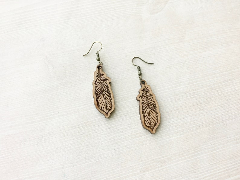 Laser Cut Wood Feather Earring in Natural Brown Organic image 0