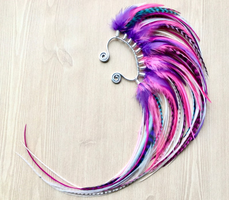 Silver Mohawk Feather Ear Wraps Neon Pink Purple & White image 0