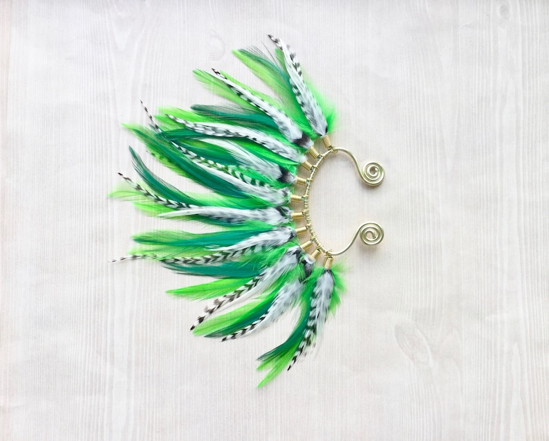 Bright Green Feather Mohawk Ear Wrap / Cuff in Gold Fairy image 0