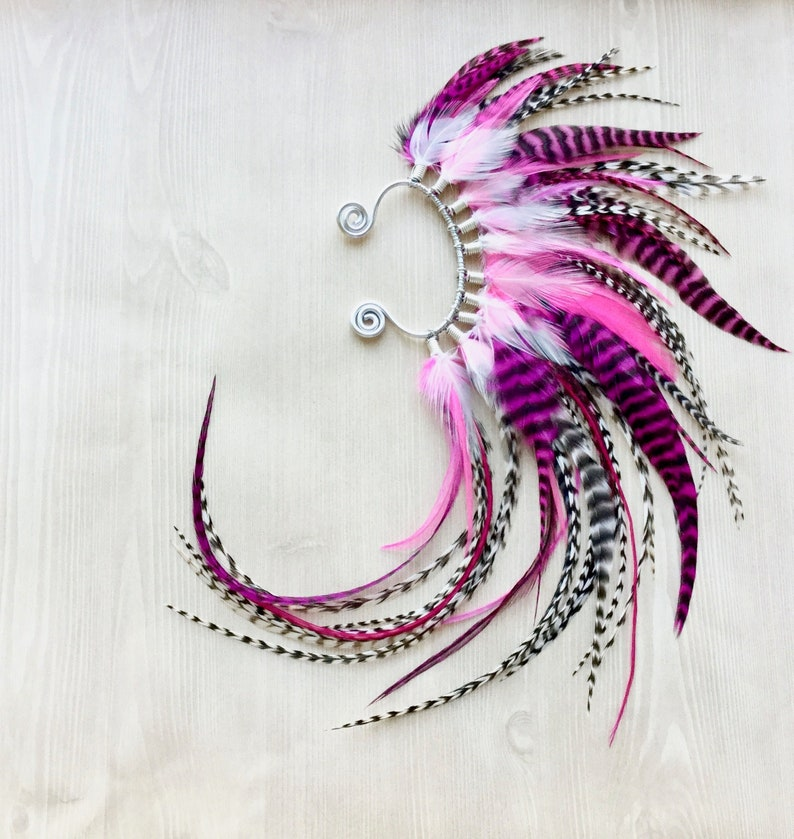 Pink Feather Mohawk Ear Wrap in Silver One of a kind image 0