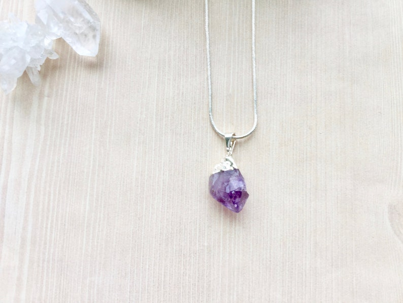 Sterling Silver Amethyst Pendant Necklace Chrystal Necklace image 0