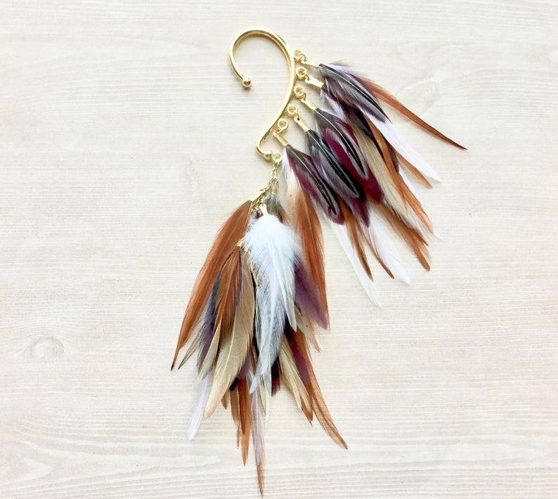 Burgundy & Natural Feather Ear Wrap / Cuff in Gold Metallic image 0