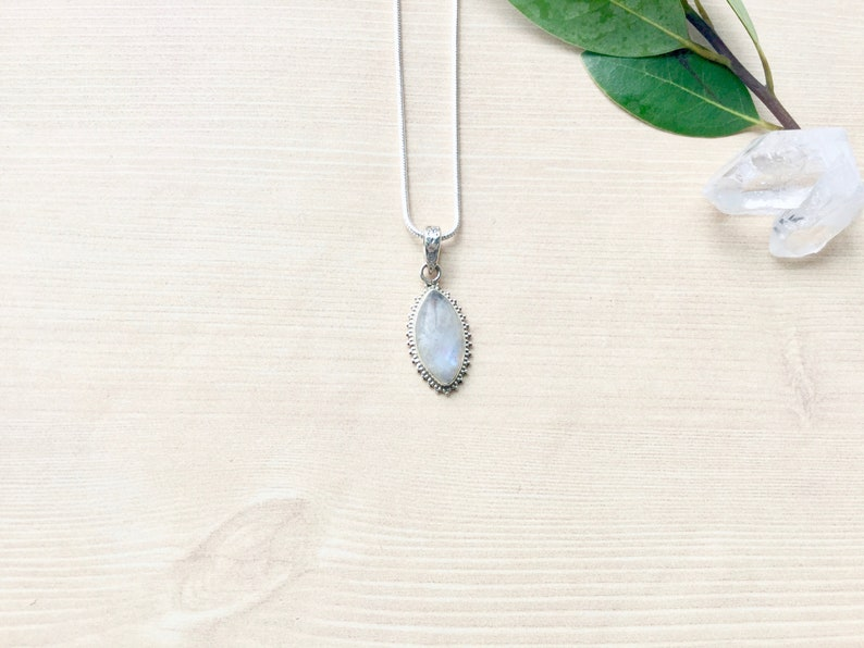 Sterling Silver Rainbow Moonstone Necklace Pendant Necklace image 0