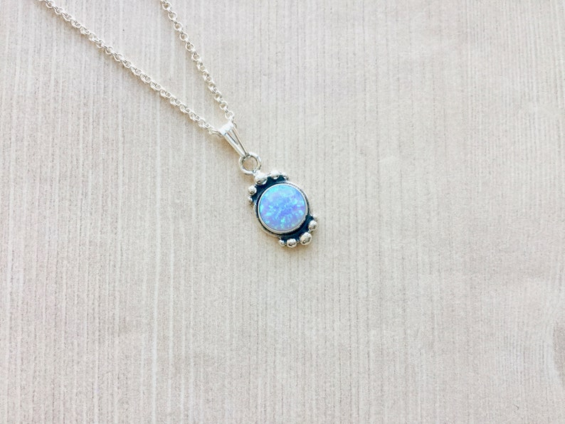 Aurora Opal Petite Sterling Necklace Rainbow Opal Geode image 0