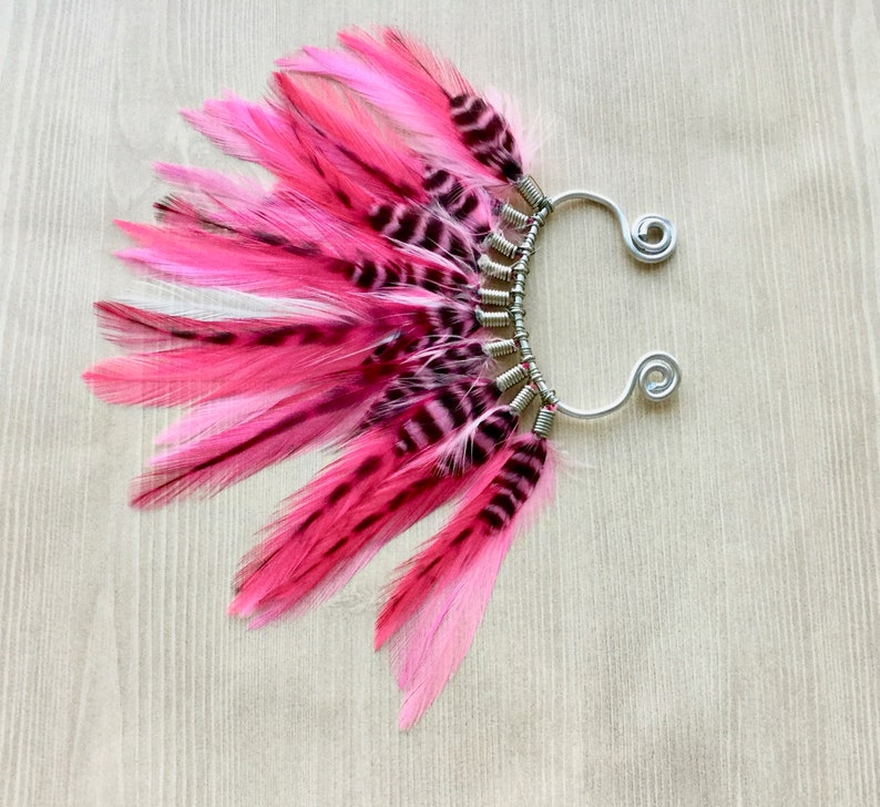 Bright Pink Feather Ear Wrap in Silver Ear Cuff Bohemian image 0